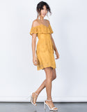 Mustard Delightful Crochet Dress - Side View