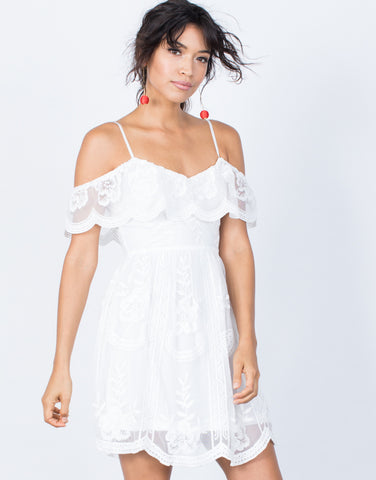 White Delightful Crochet Dress - Front View