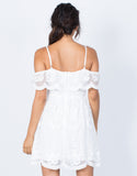 White Delightful Crochet Dress - Back View