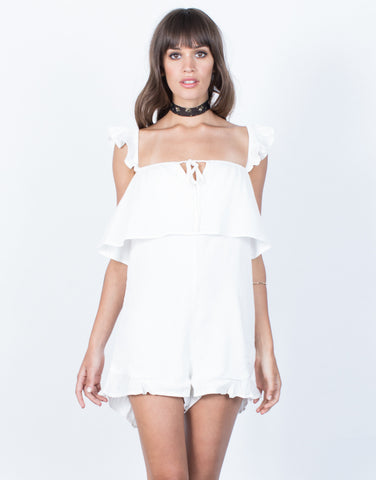 Front View of Delilah Ruffled Romper