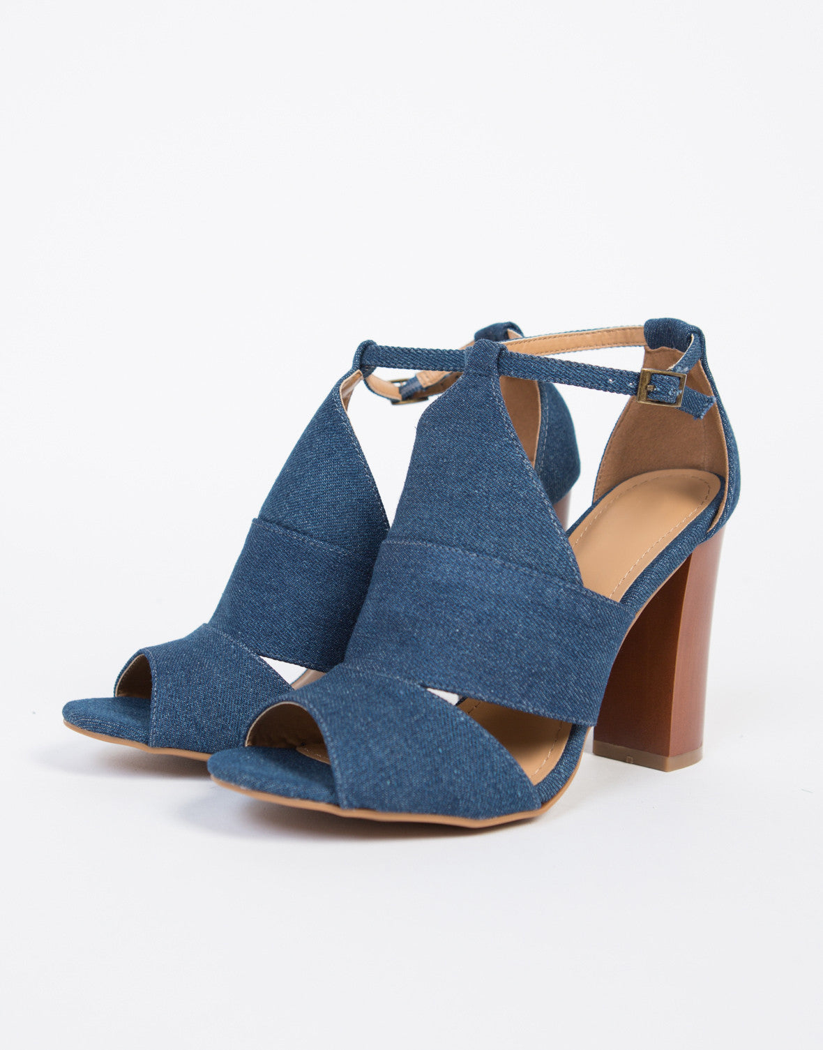 Denim Block Heel Sandals
