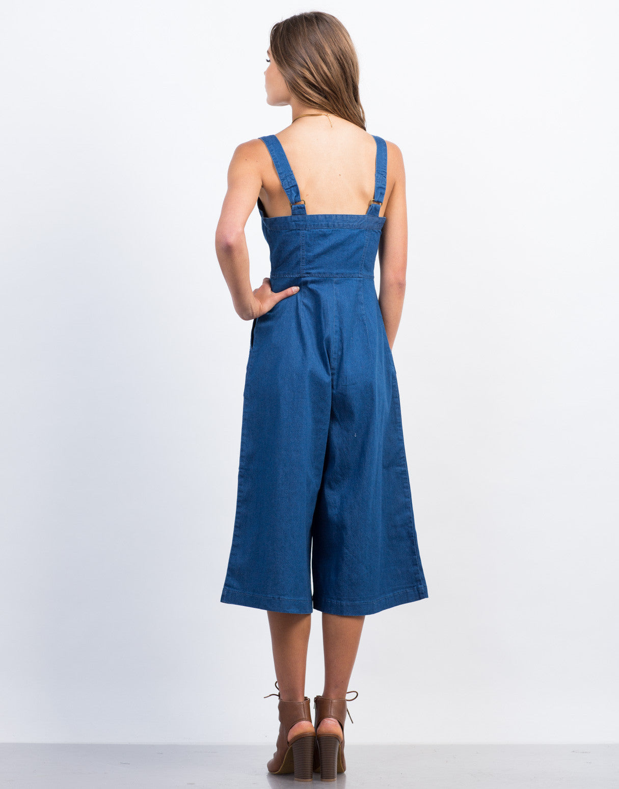 Back View of Denim Button Down Culotte Jumpsuit