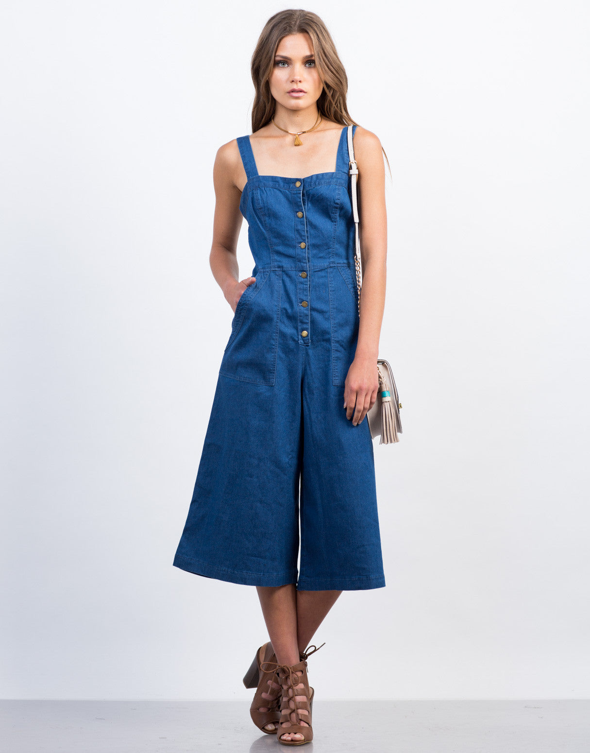 Front View of Denim Button Down Culotte Jumpsuit