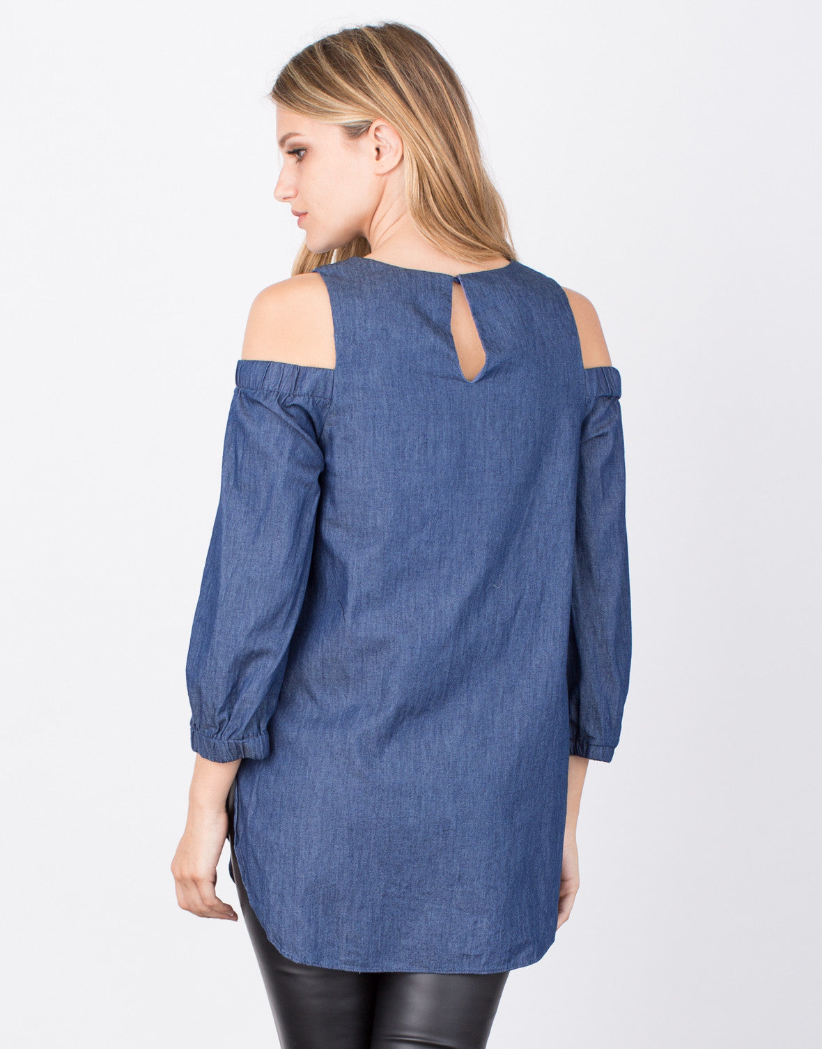 Back View of Denim Cold Shoulder Top