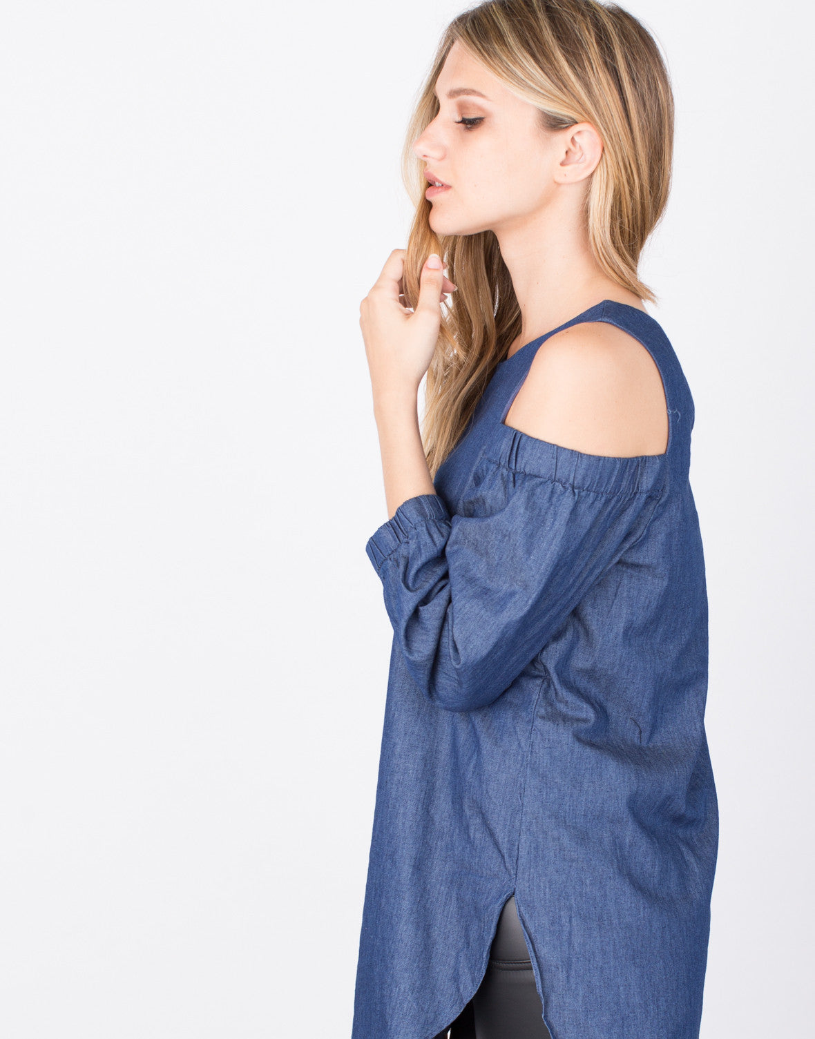 Detail of Denim Cold Shoulder Top