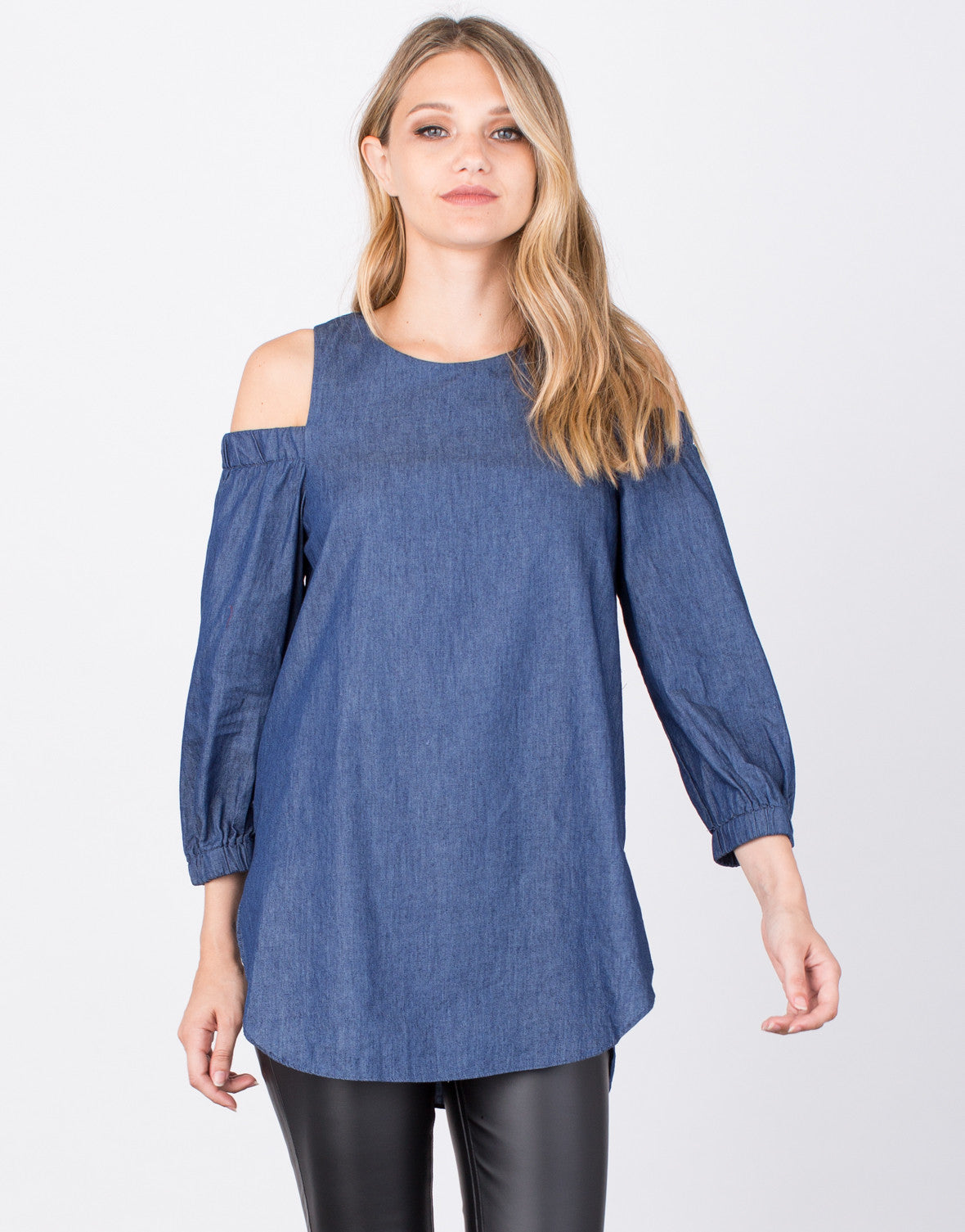 Front View of Denim Cold Shoulder Top