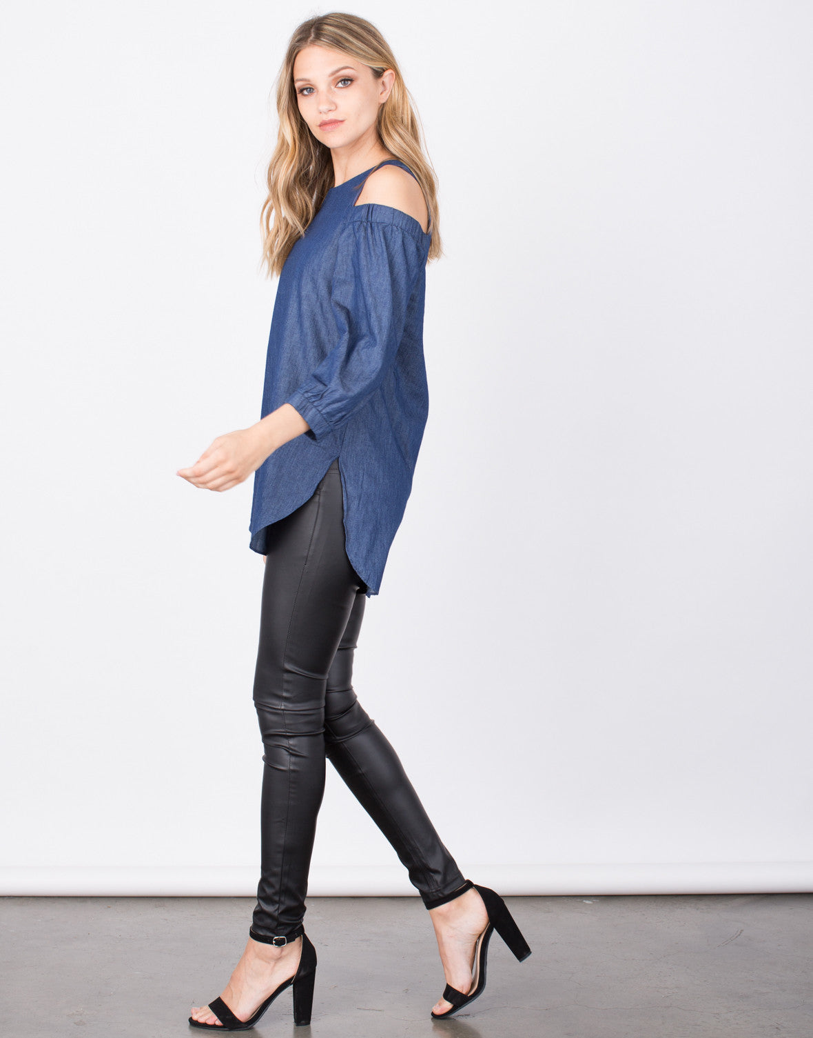 Side View of Denim Cold Shoulder Top