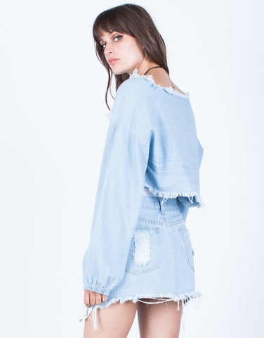 Back View of Denim Cut Out Crop Top
