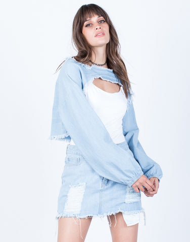 Front View of Denim Cut Out Crop Top