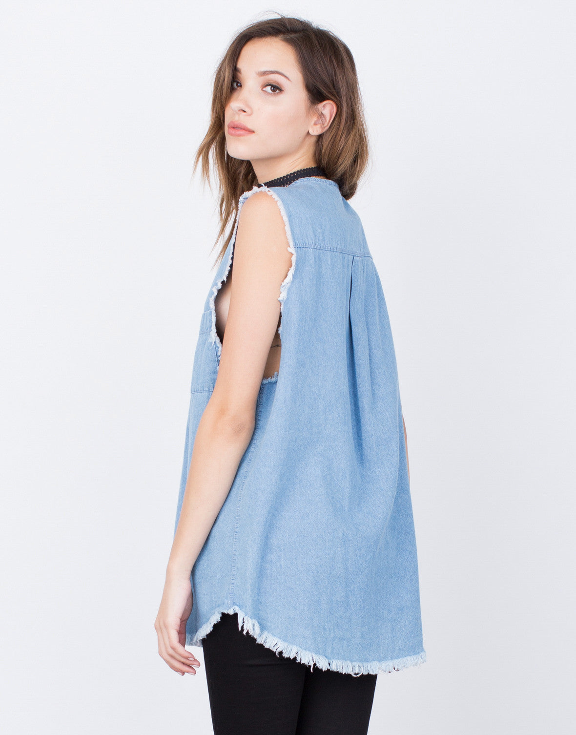 Back View of Denim Lace-Up Top