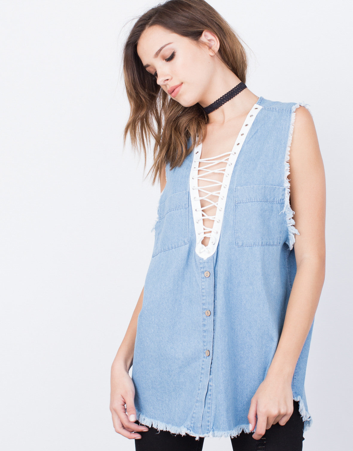 Detail of Denim Lace-Up Top