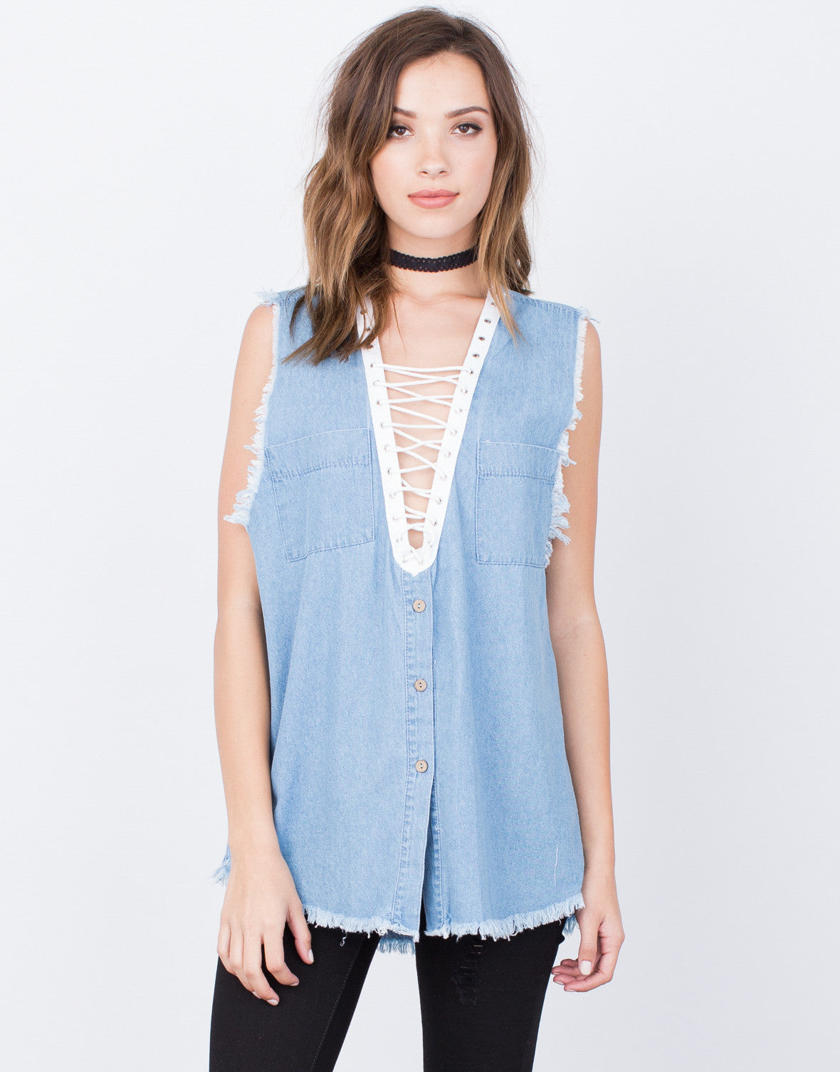 Front View of Denim Lace-Up Top