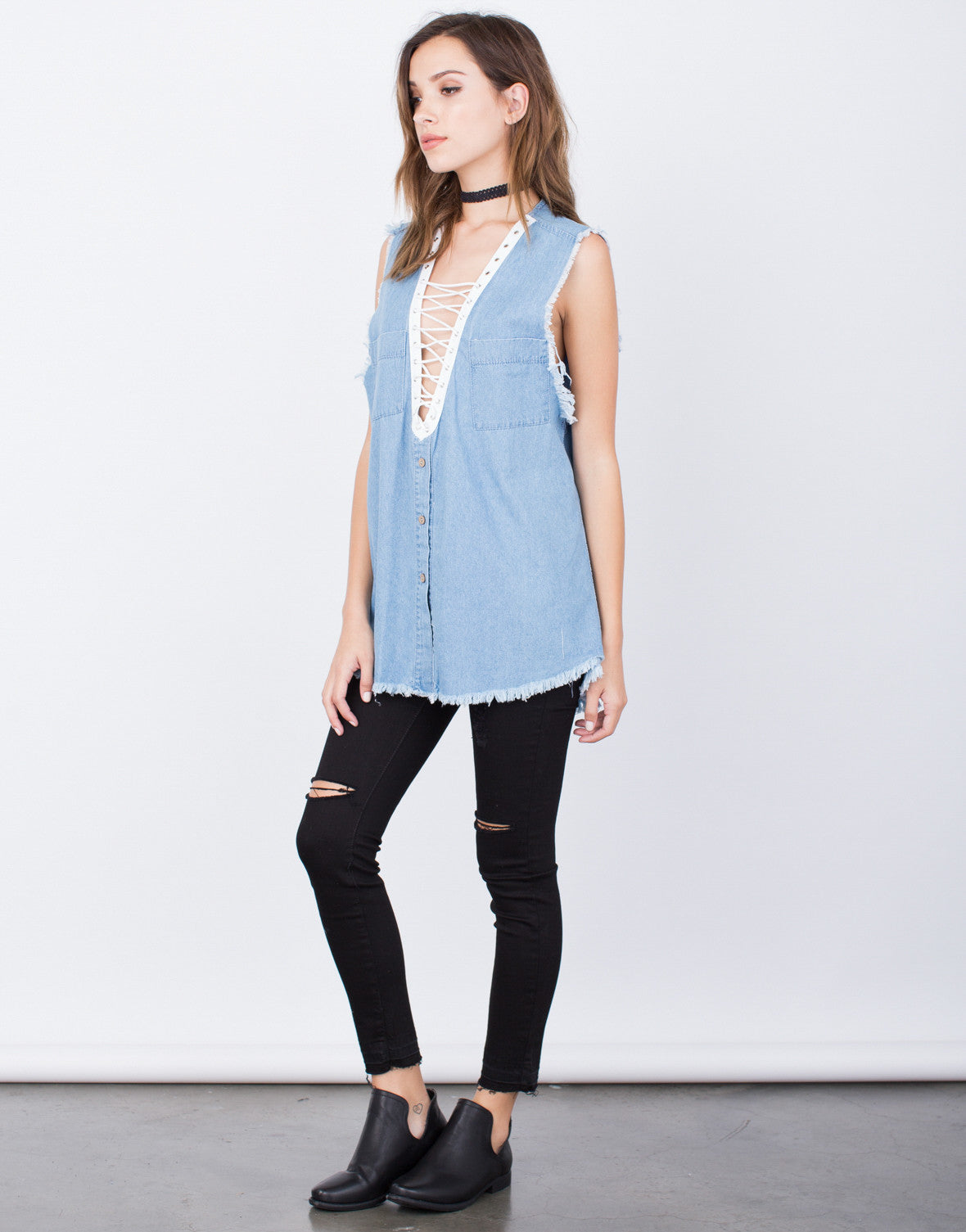 Side View of Denim Lace-Up Top