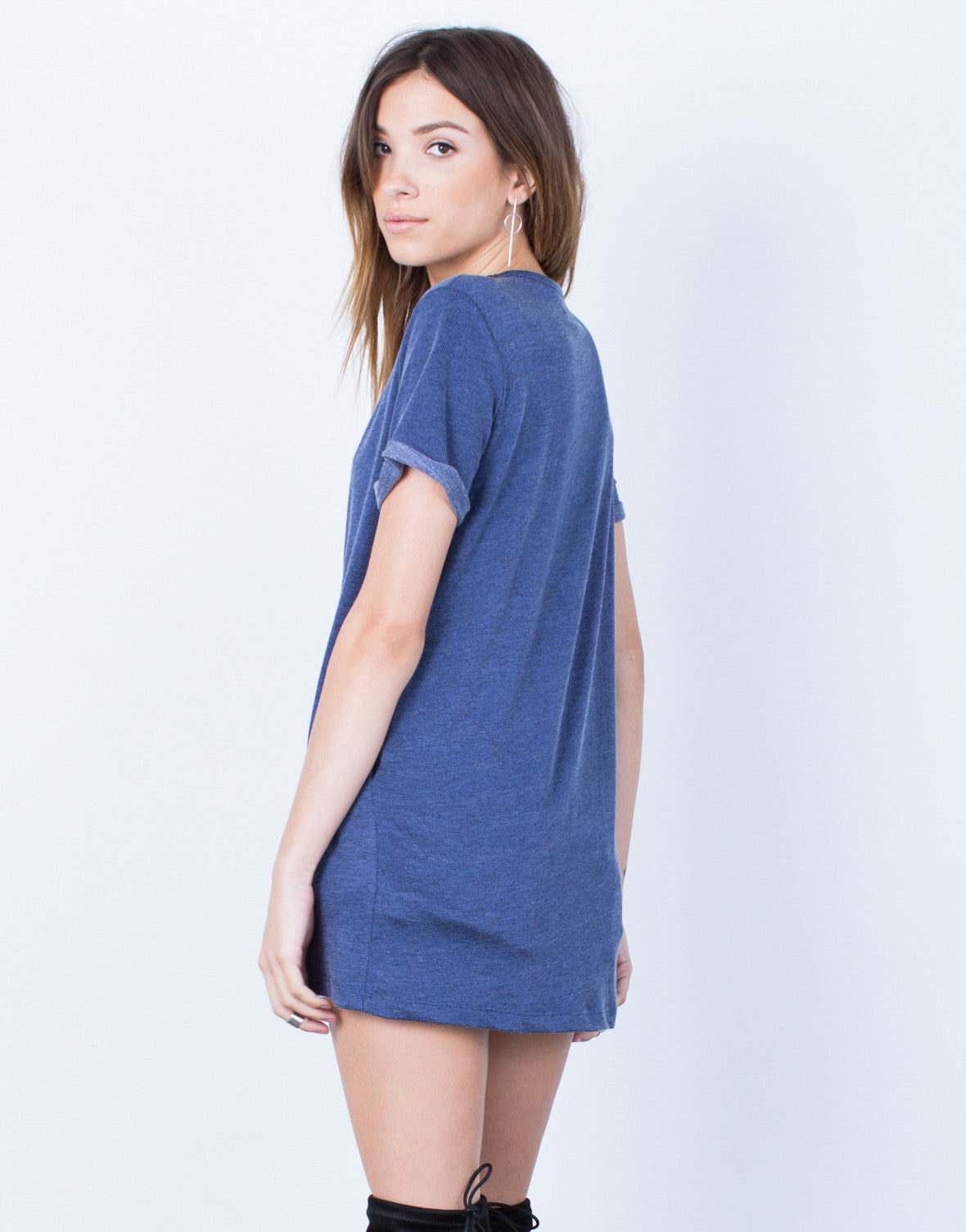 Back View of Denim Lace-Up Tunic Dress