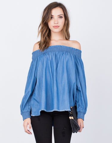 Front View of Denim Off-the-Shoulder Top