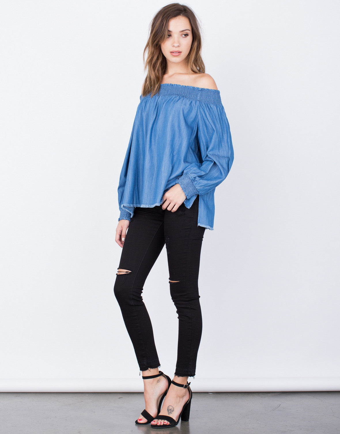 Denim Off-the-Shoulder Top - 2020AVE