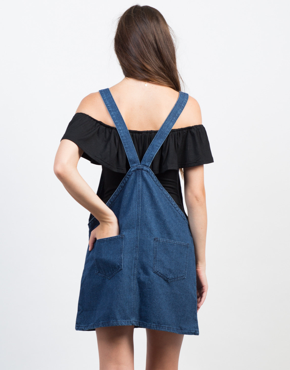 Back View of Denim Overall Dress