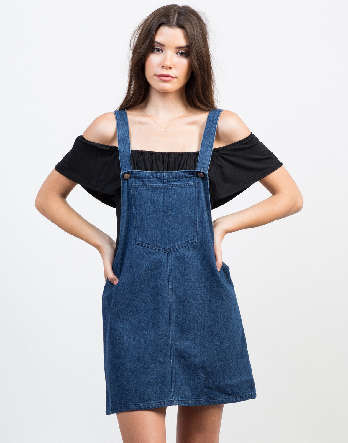 Front View of Denim Overall Dress