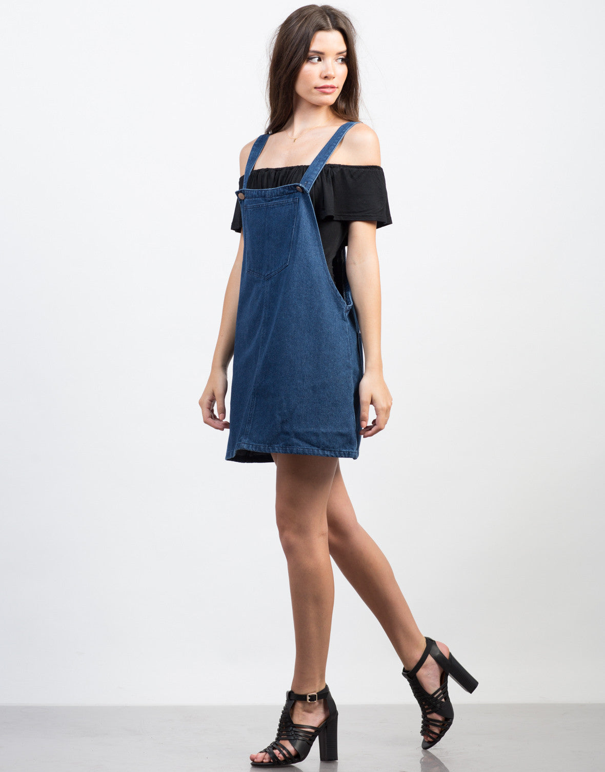 Side View of Denim Overall Dress