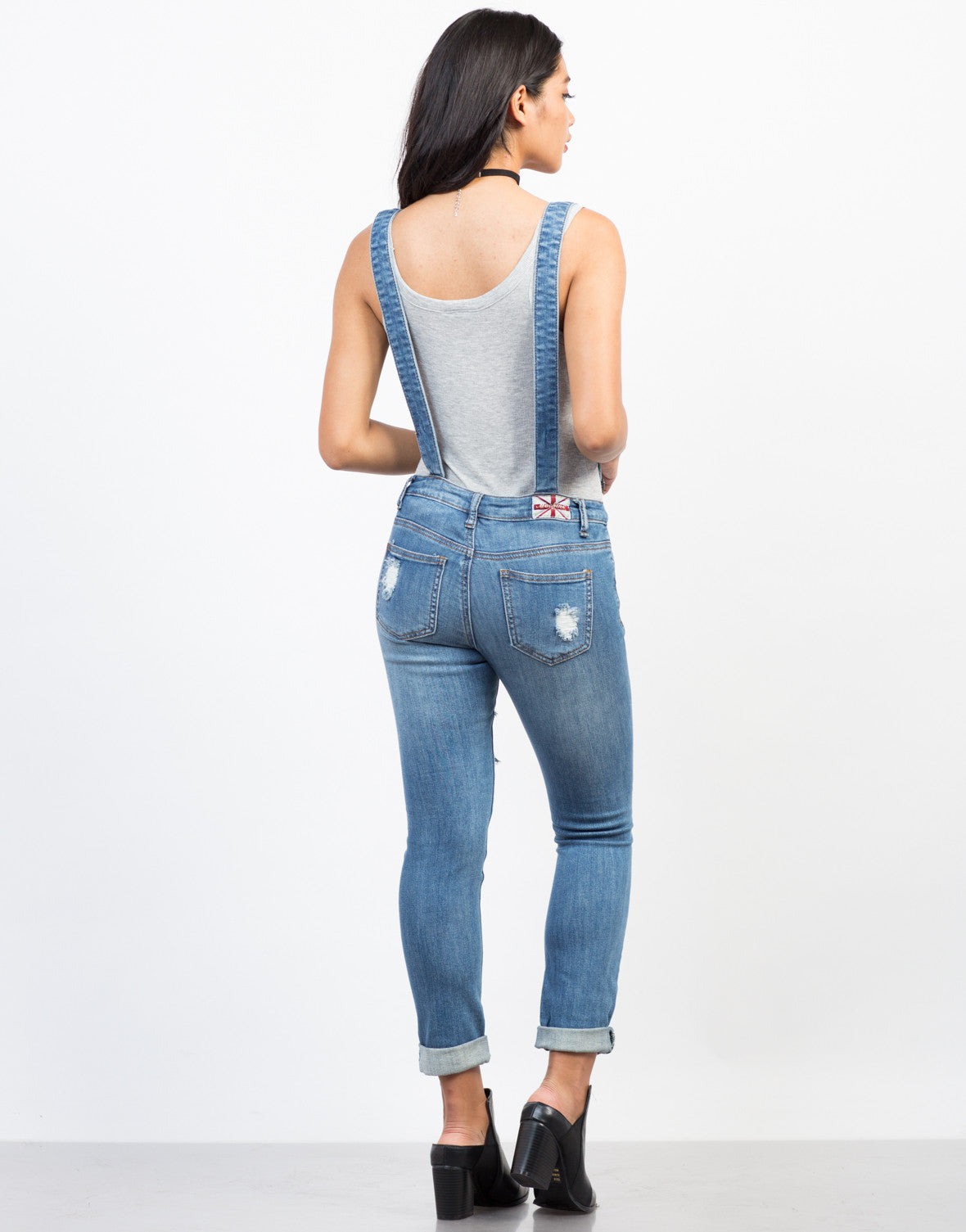 Back View of Denim Suspender Overalls