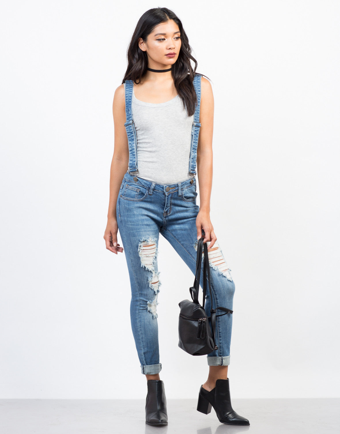 Front View of Denim Suspender Overalls