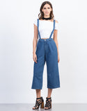 Front View of Denim Culotte Jumpsuit