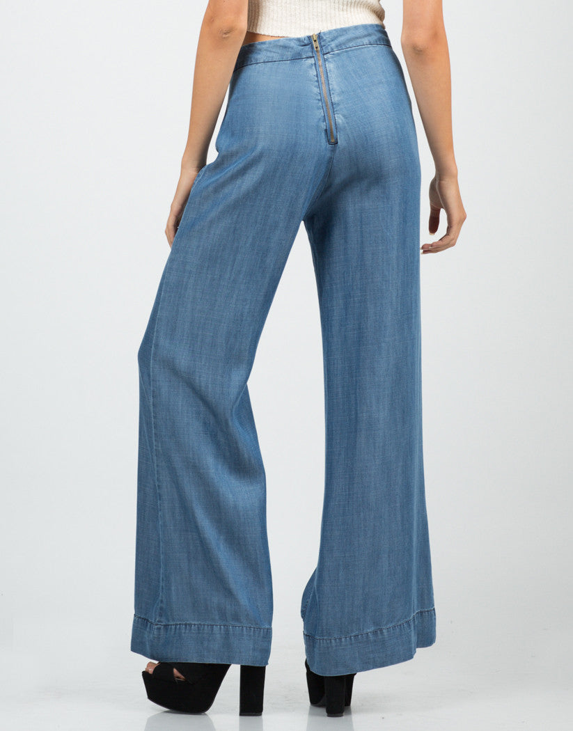 Back View of Denim Flared Pants