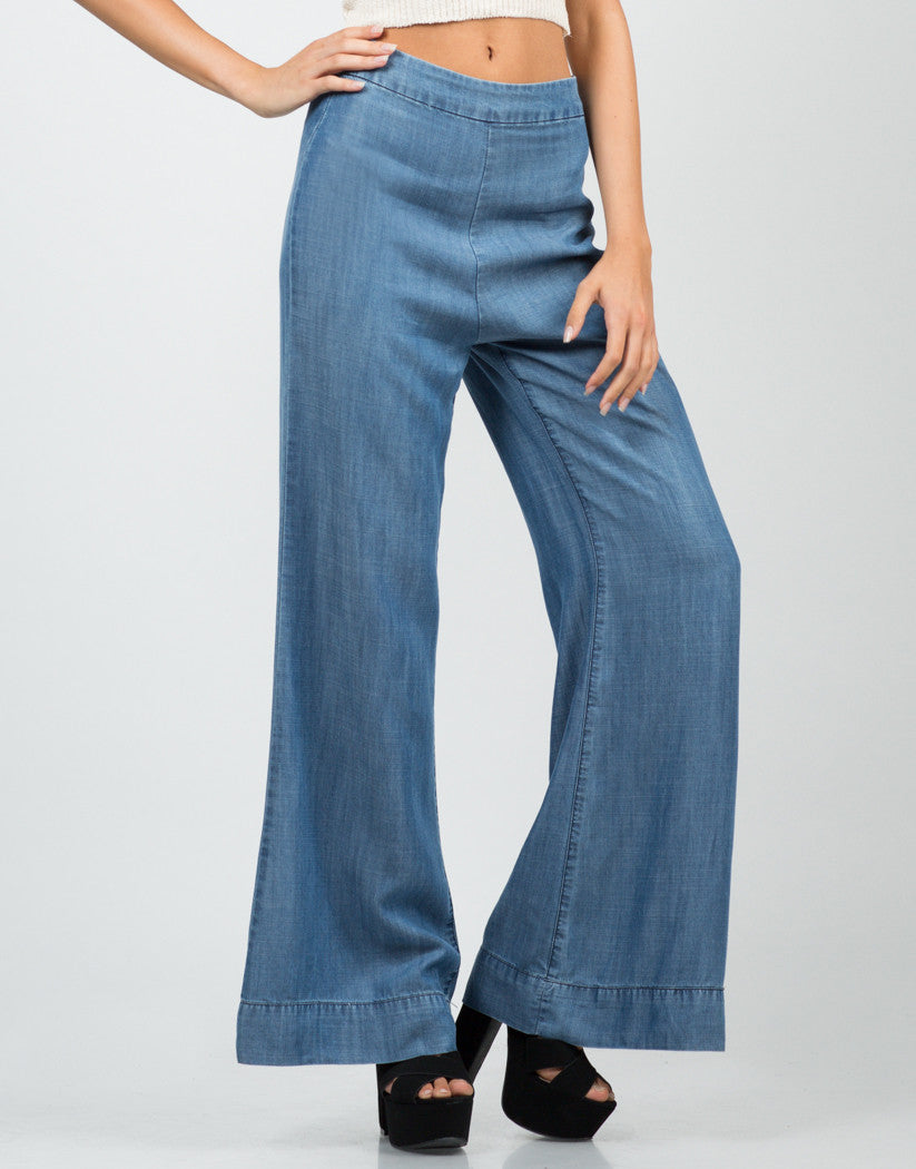 Front View of Denim Flared Pants