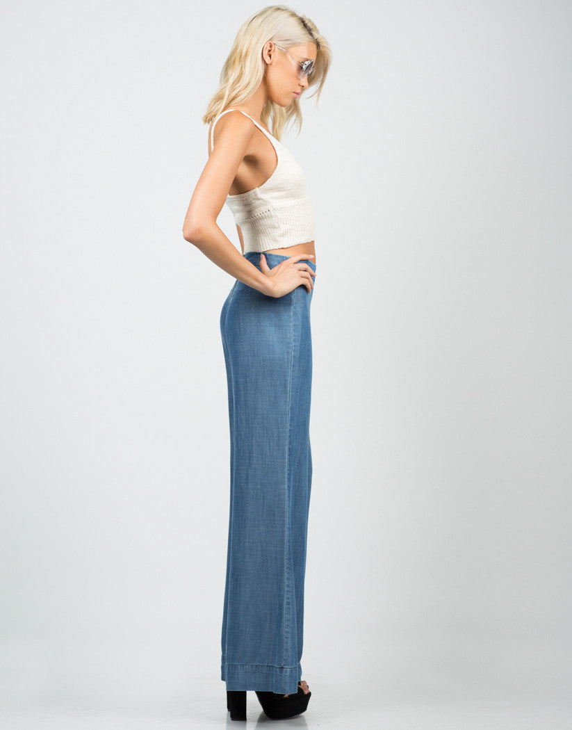 Side View of Denim Flared Pants