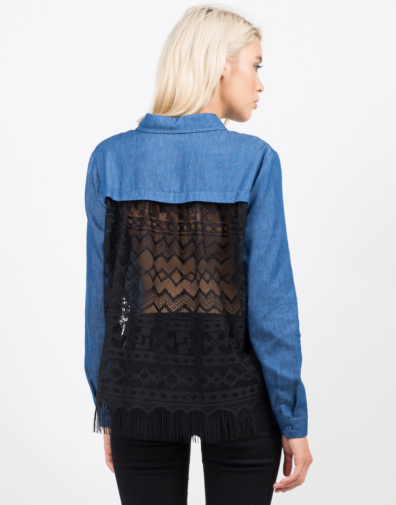 Denim Lacey Back Shirt - 2020AVE