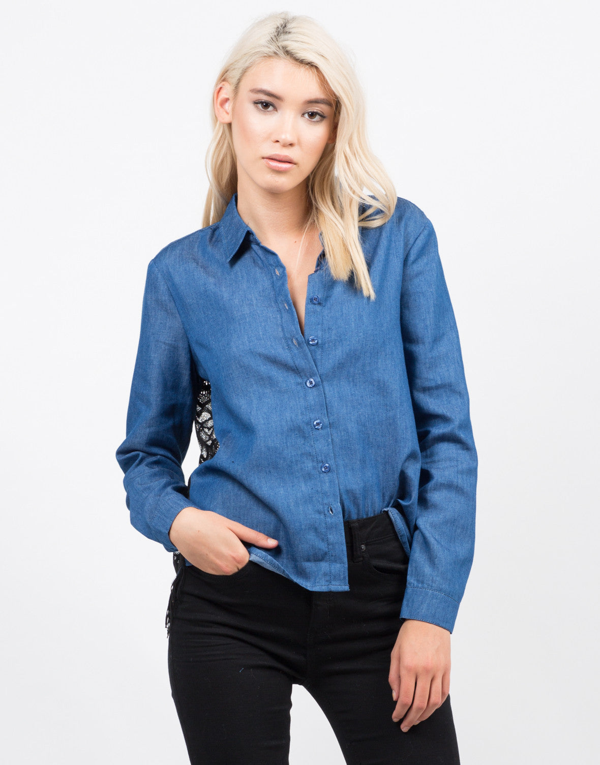 Front View of Denim Lacey Back Shirt