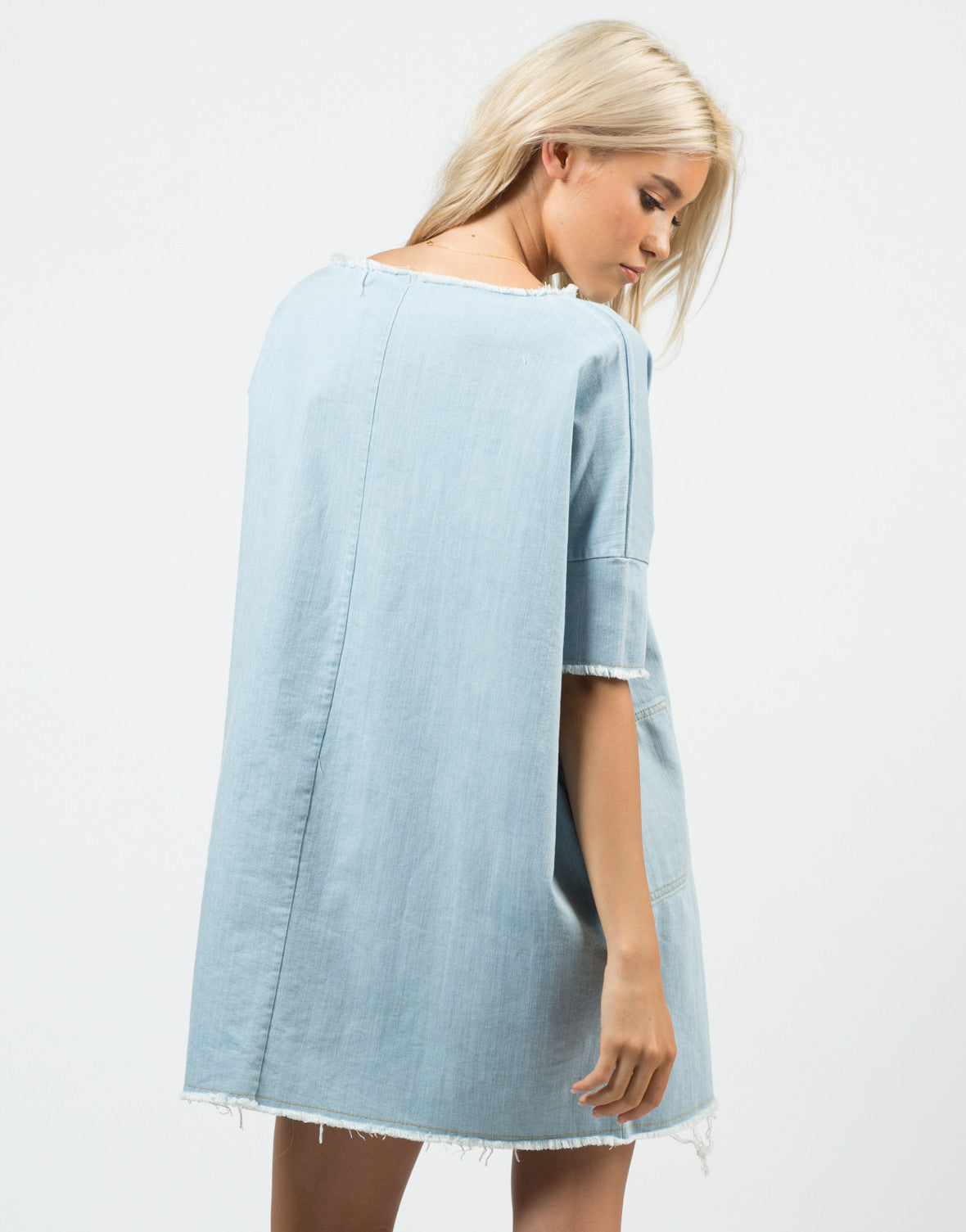 Back View of Denim Shirt Dress
