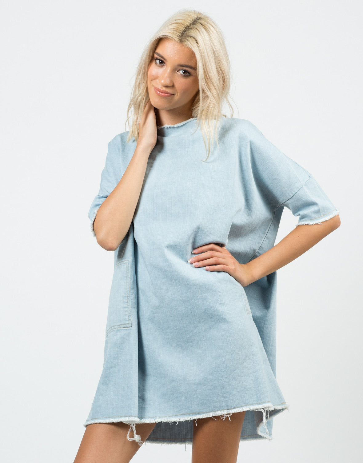 Front View of Denim Shirt Dress