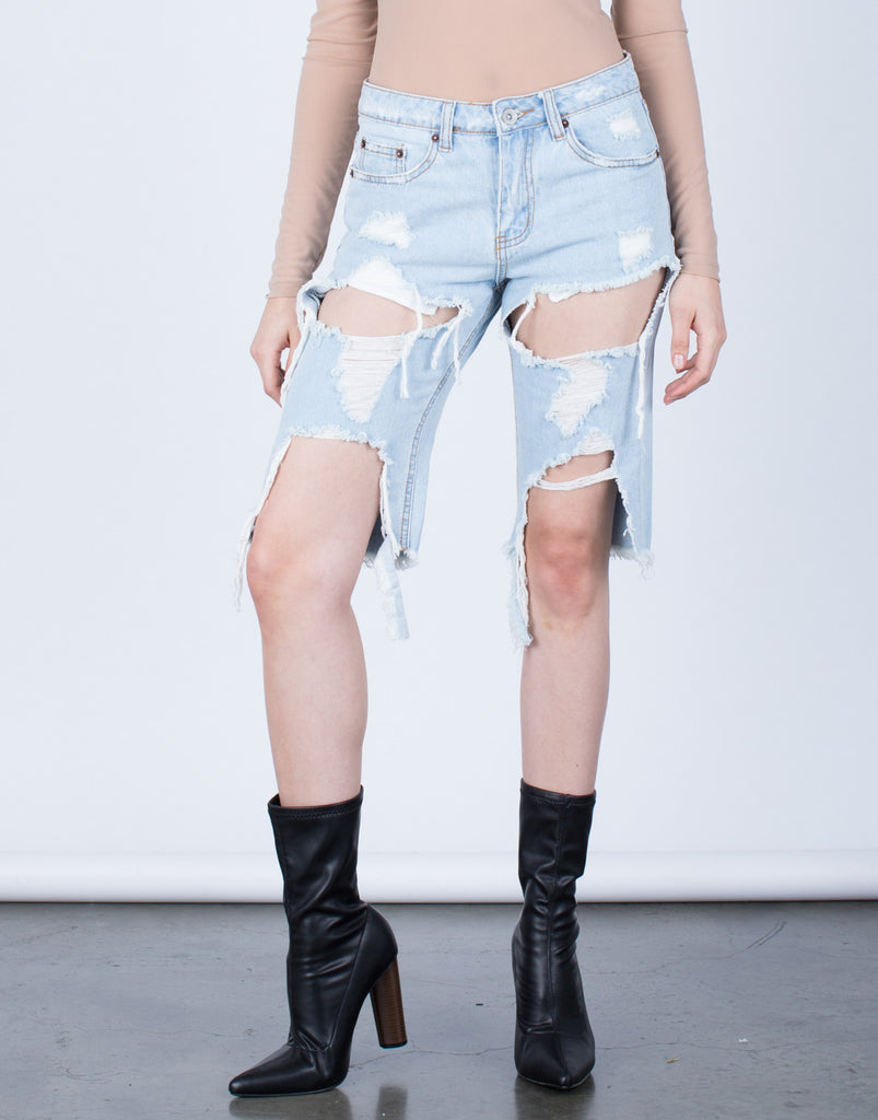Destroyed BF Bermuda Shorts - 2020AVE