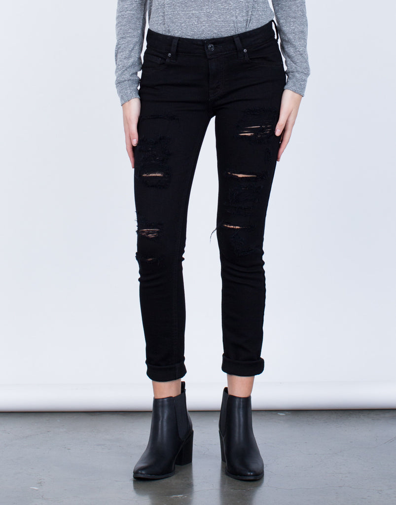 Destroyed Black Denim Jeans - 2020AVE