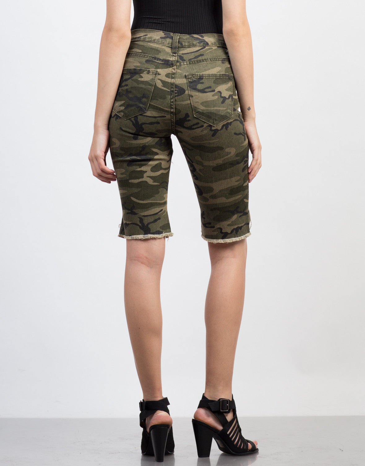 Back View of Destroyed Camo Bermuda Shorts