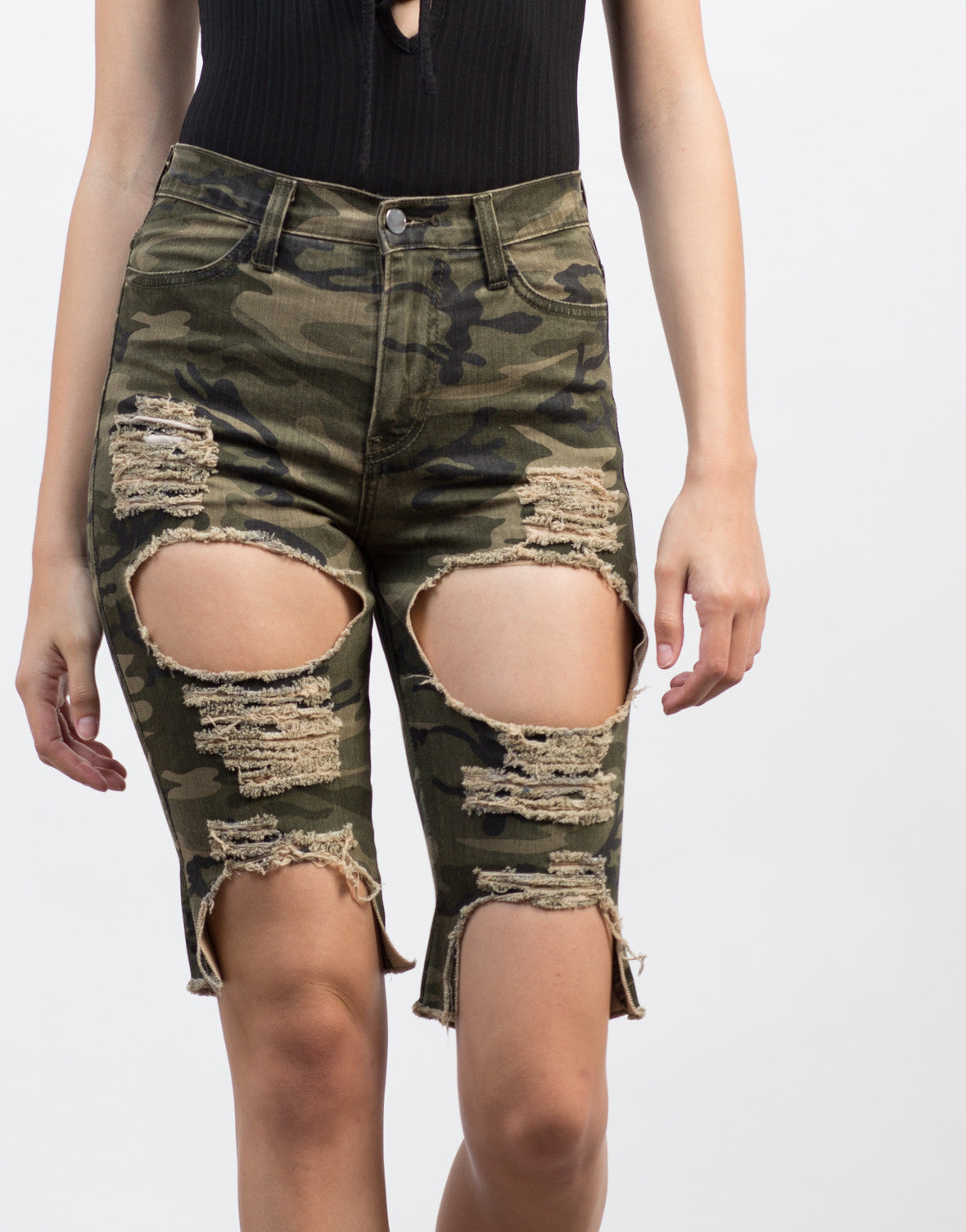 Detail of Destroyed Camo Bermuda Shorts