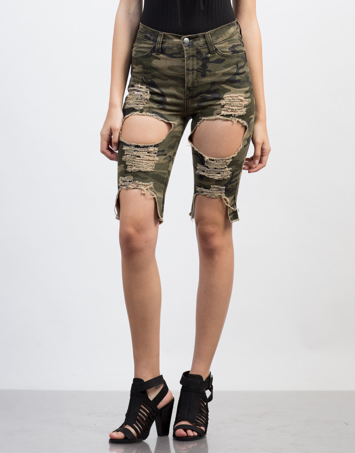 Front View of Destroyed Camo Bermuda Shorts