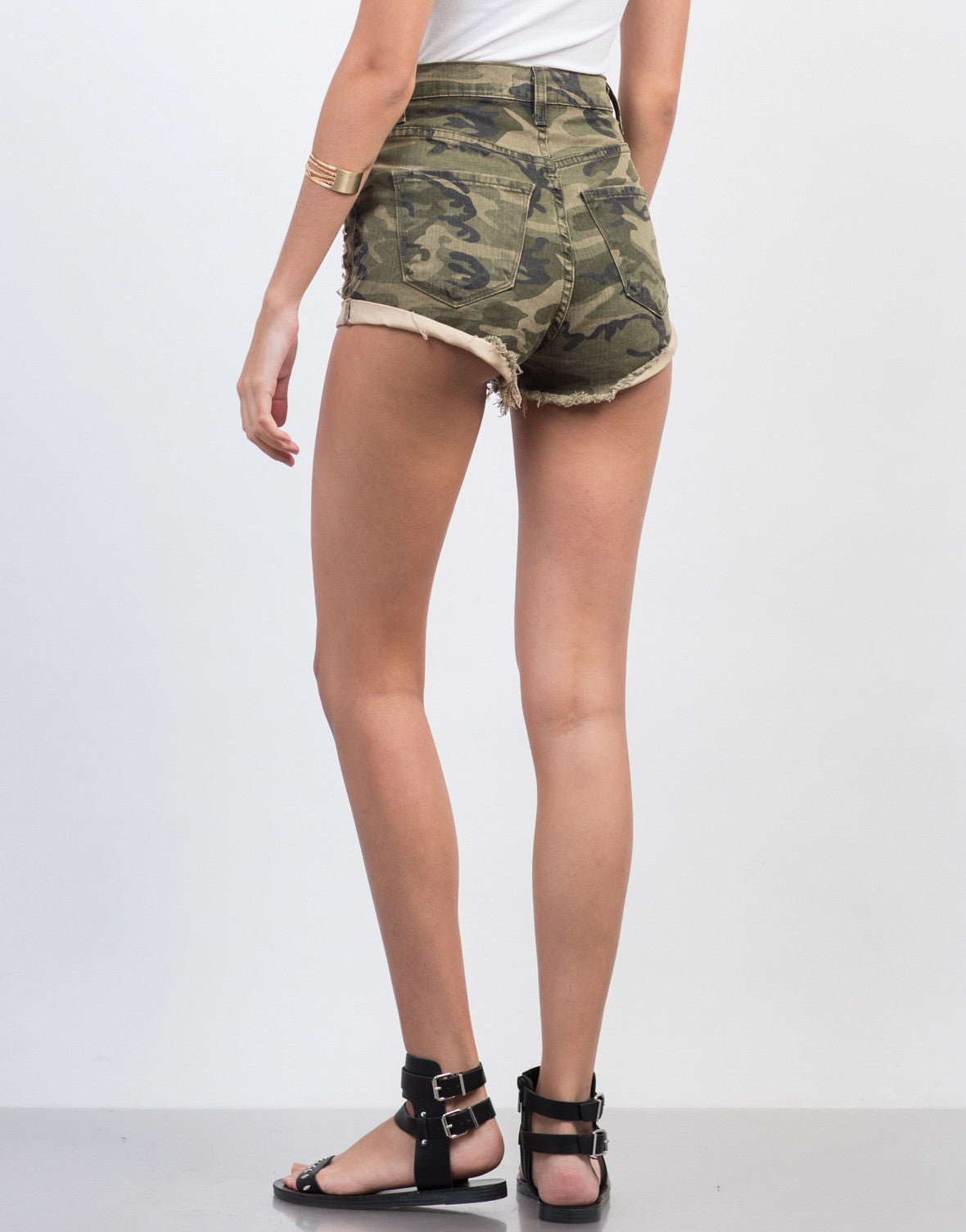 Back View of Destroyed Camo High Waisted Shorts