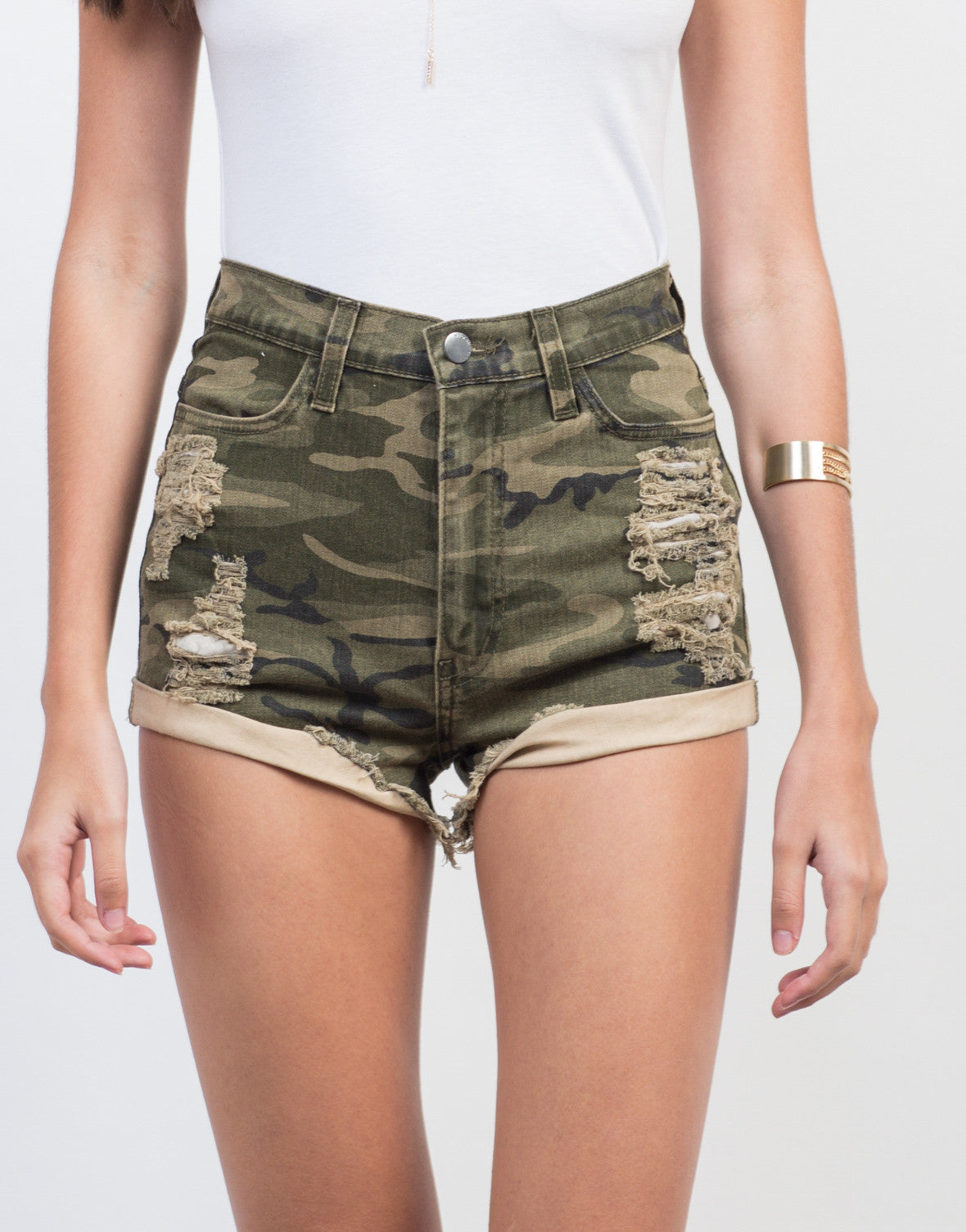 Detail of Destroyed Camo High Waisted Shorts