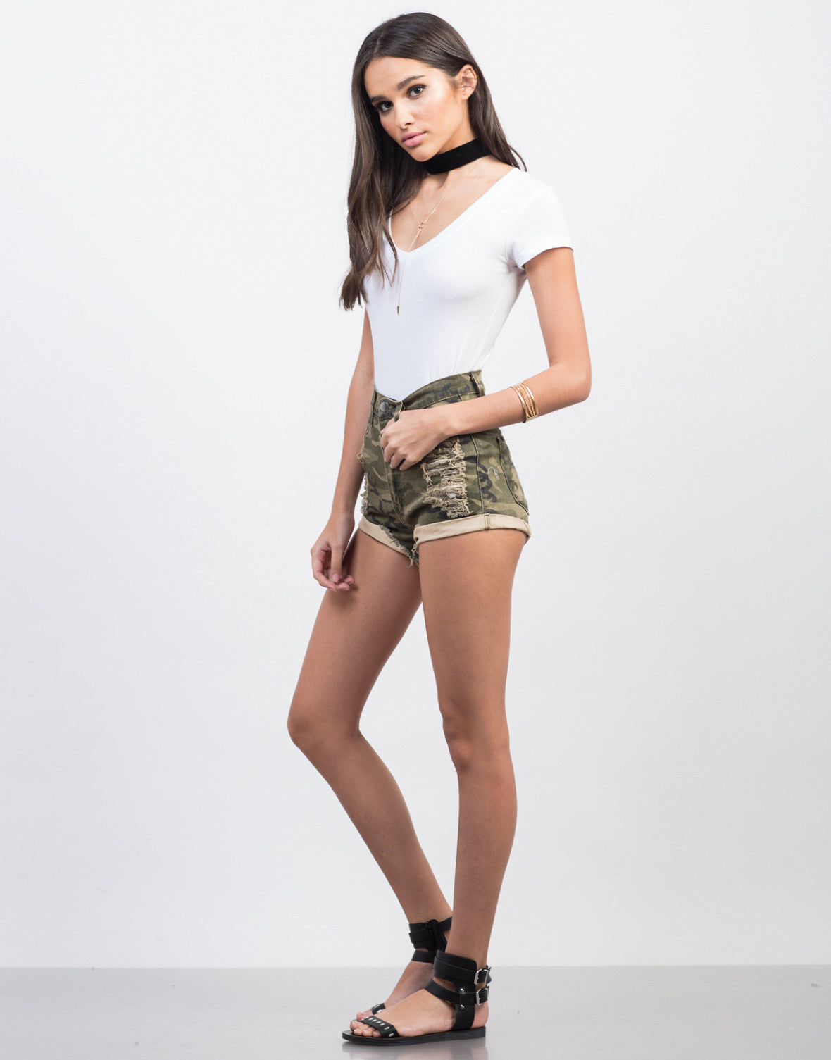 Side View of Destroyed Camo High Waisted Shorts