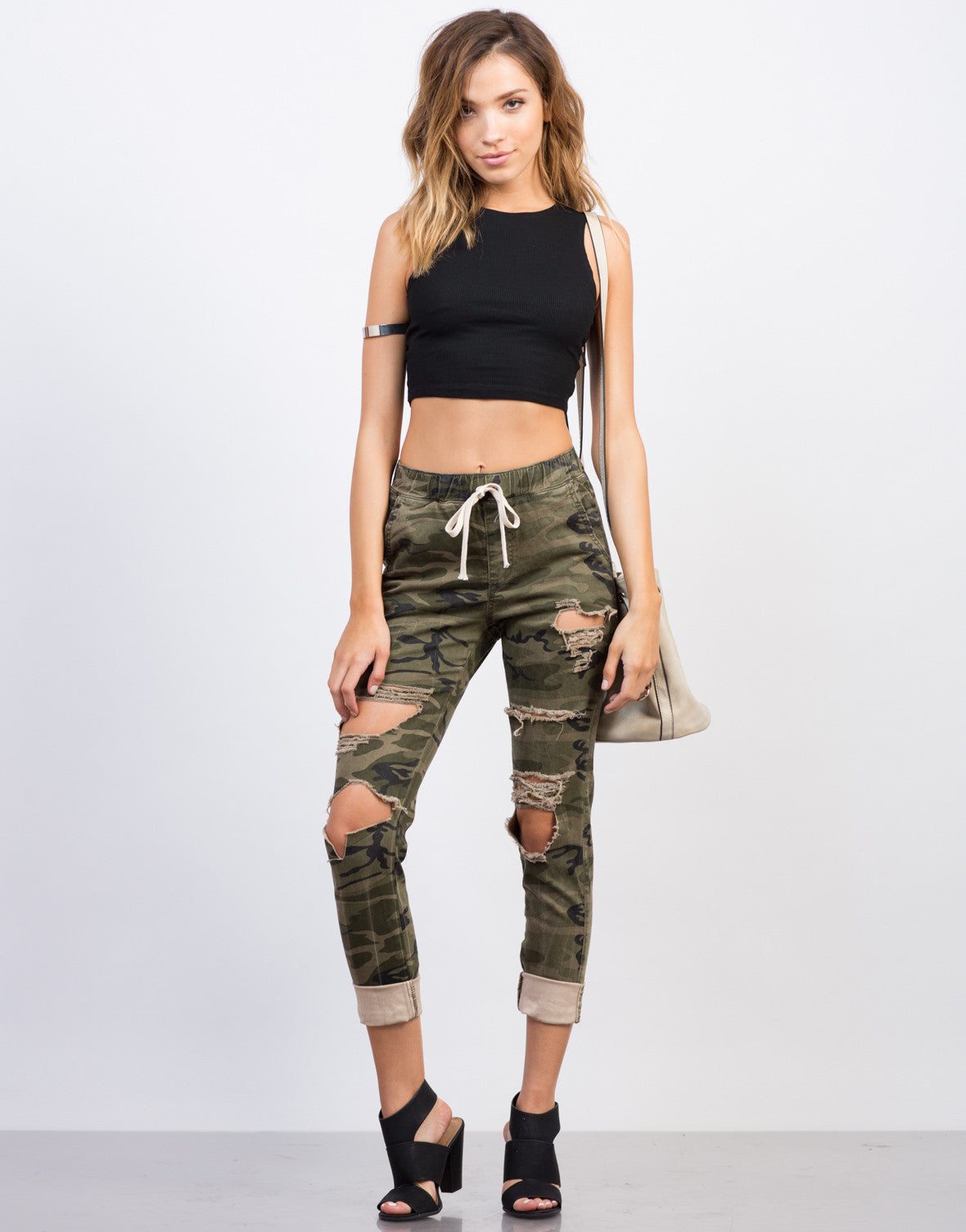Front View of Destroyed Camo Jogger Pants