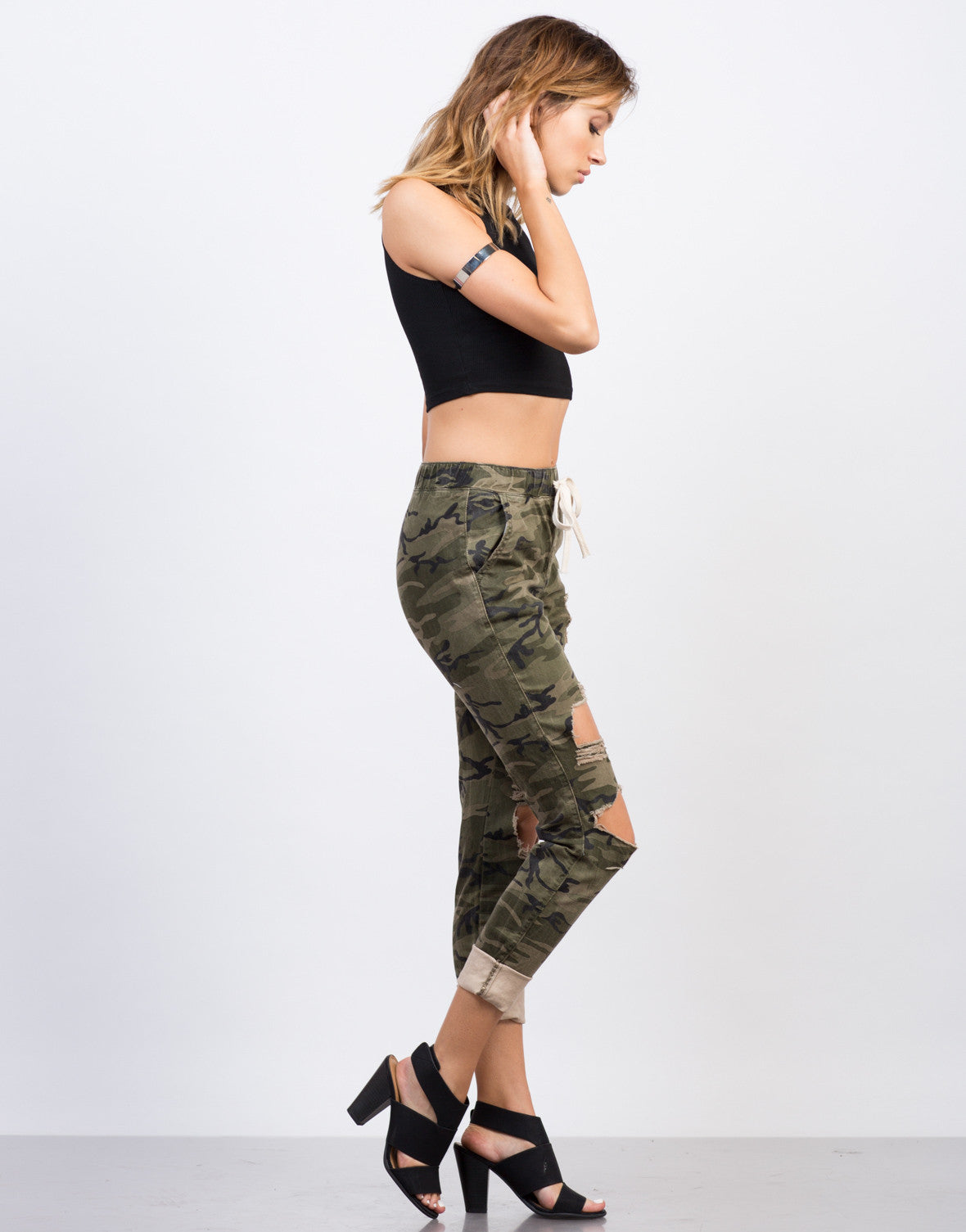Destroyed Camo Jogger Pants