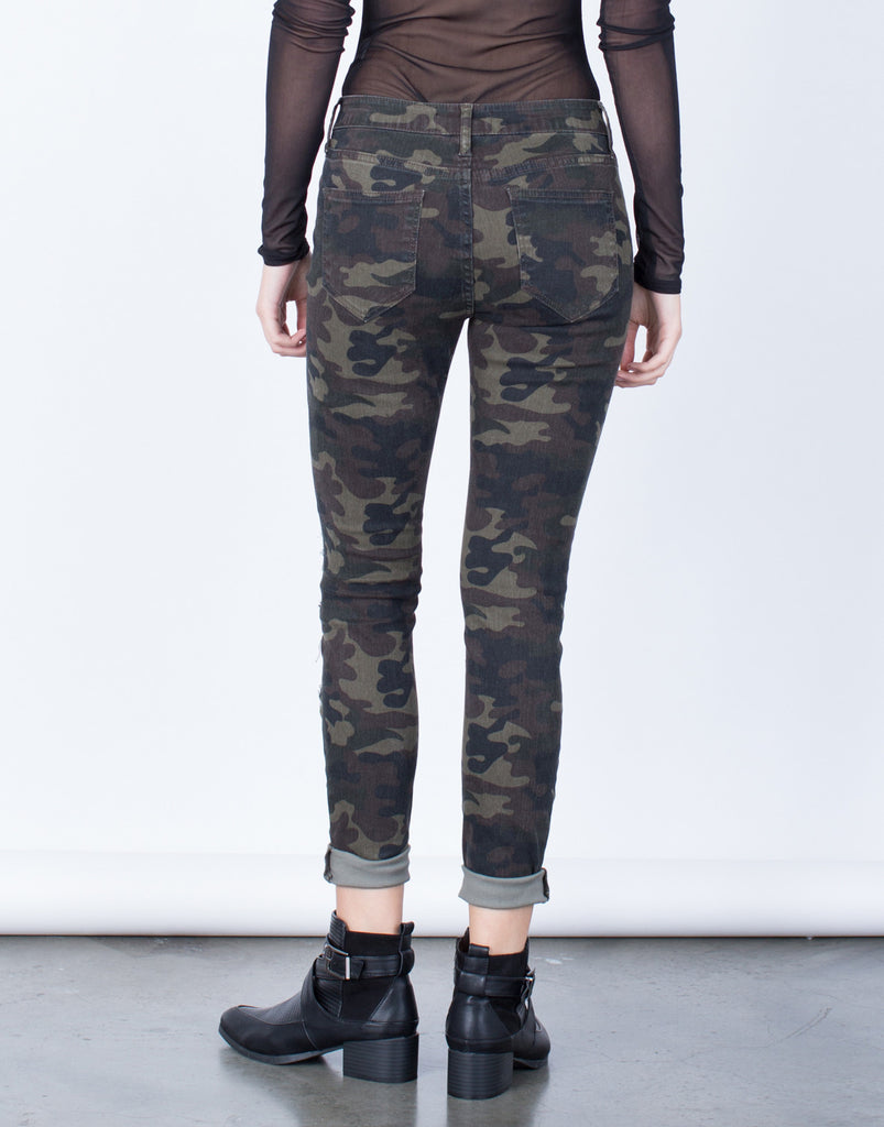 Back View of Destroyed Camo Skinny Jeans