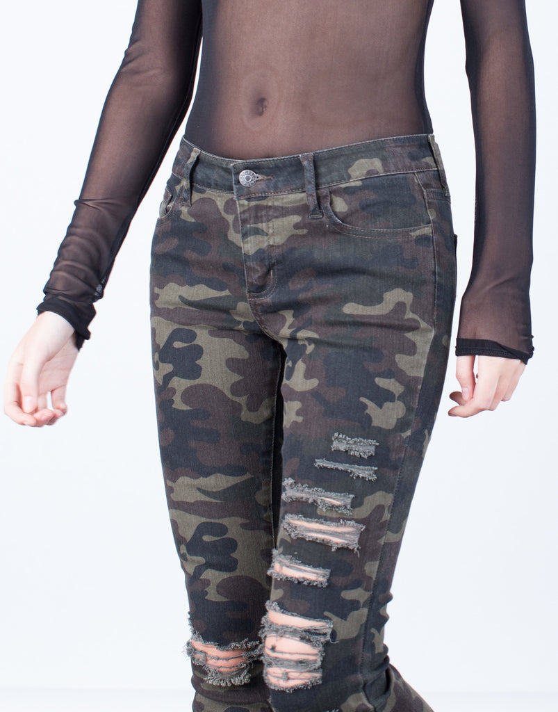 Detail of Destroyed Camo Skinny Jeans