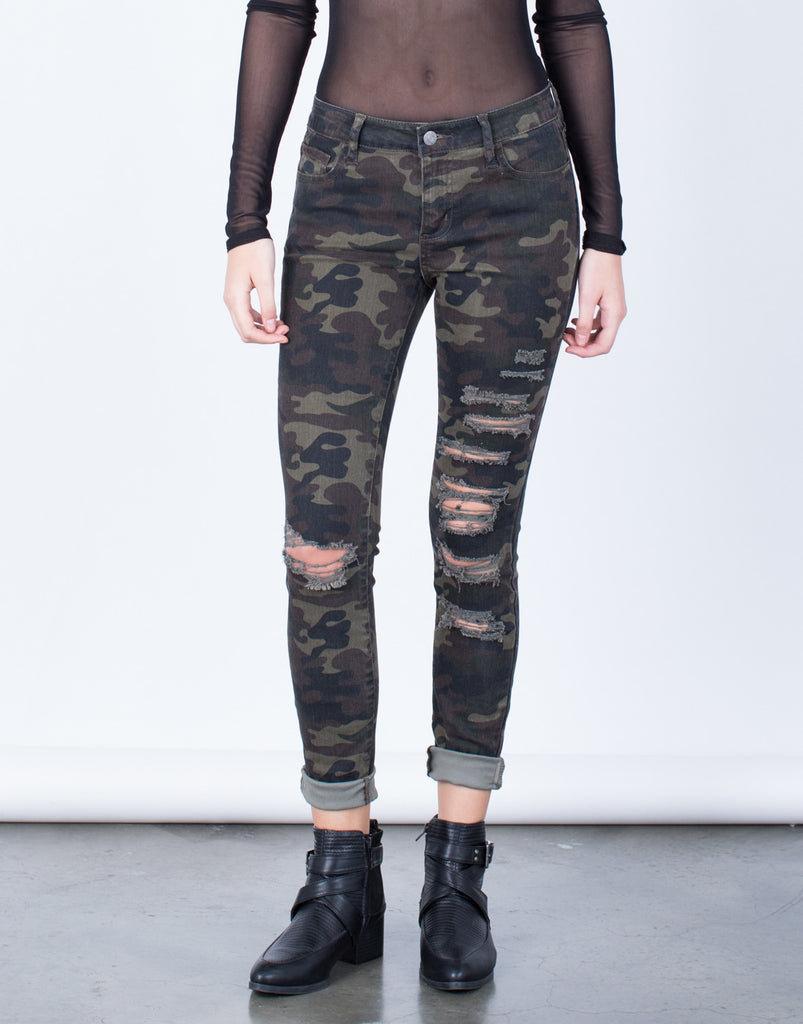Front View of Destroyed Camo Skinny Jeans