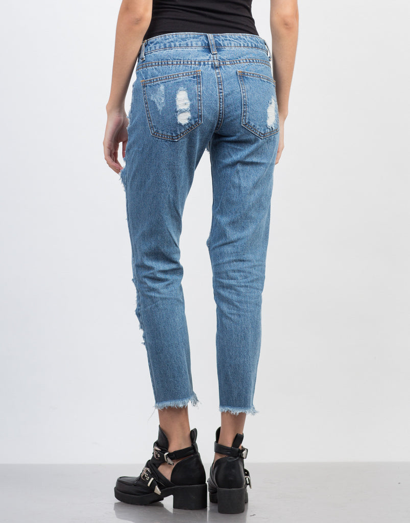 Destroyed Cropped Hem Jeans - 2020AVE
