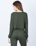 Back View of Destroyed Cropped Sweater