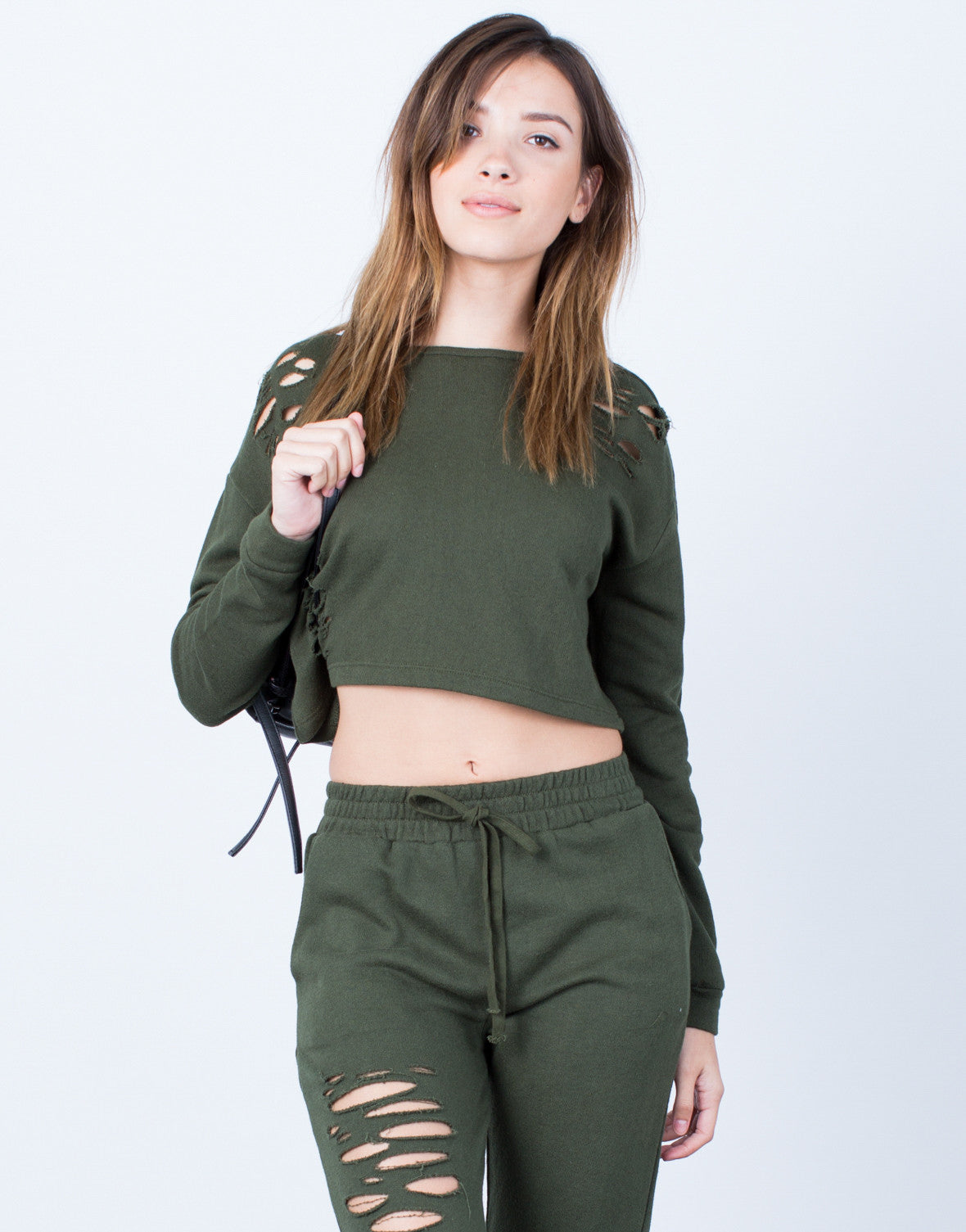 Front View of Destroyed Cropped Sweater