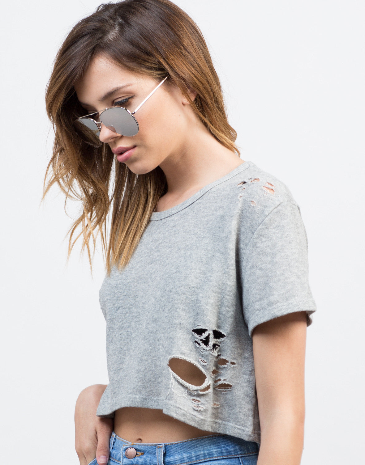 Detail of Destroyed Cropped Tee